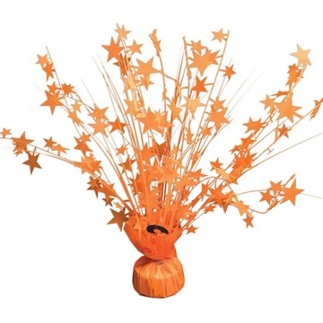 "15"" Starburst Bright Neon Orange Balloon Weight Centerpiece"