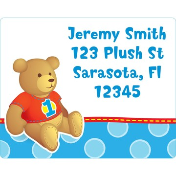 1st Birthday Bear Boy Personalized Address Label