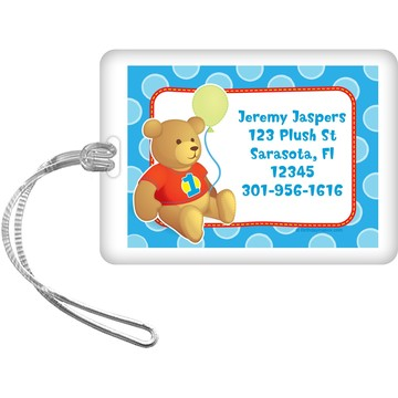 1st Birthday Bear Boy Personalized Luggage Tag (each)