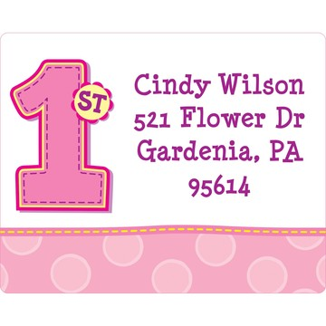 1st Birthday Girl Personalized Address Label