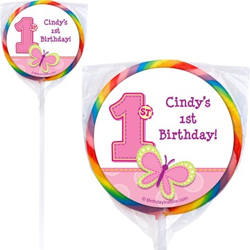 1st Birthday Girl Personalized Lollipop
