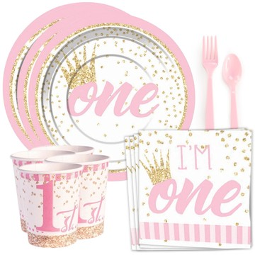 1st Birthday Pink Standard Tableware Kit (Serves 8)