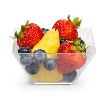 """3.5"""" Clear Plastic Square Serving Bowls (8 Pack)"""