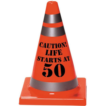 50th Birthday Plastic Cone Decoration (Each)