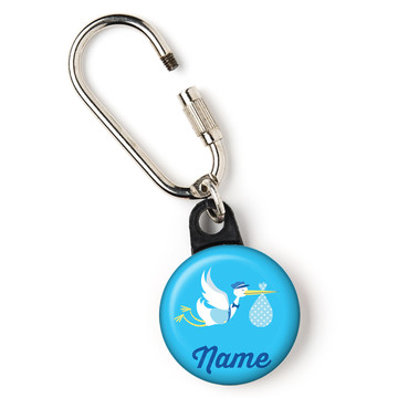"Baby Boy Stork Personalized 1"" Carabiner (Each)"