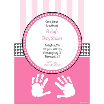 Baby Feet Pink Personalized Invitation (Each)