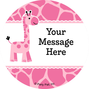 Baby Girl Safari Personalized Stickers (Sheet of 12)