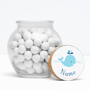 """Baby Whale Blue Personalized 3"""" Glass Sphere Jars (Set of 12)"""