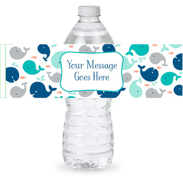 Baby Whale Blue Personalized Bottle Label (Sheet of 4)