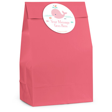 Baby Whale Pink Personalized Favor Bag (12 Pack)