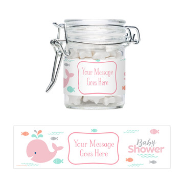 Baby Whale Pink Personalized Glass Apothecary Jars (10 Count)