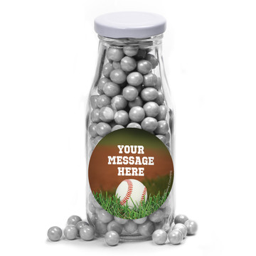 Baseball Personalized Glass Milk Bottles (12 Count)