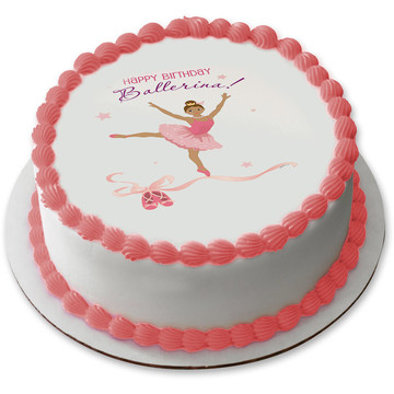 "Birthday Ballerina 7.5"" Round Edible Cake Topper (Each)"