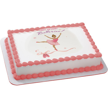 Birthday Ballerina Quarter Sheet Edible Cake Topper (Each)