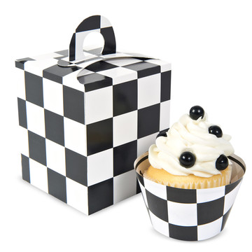 Black White Checked Cupcake Boxes