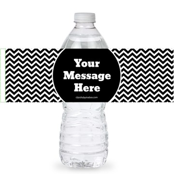 Black/White Chevron Personalized Bottle Labels (Sheet of 4)