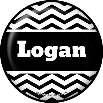Black/White Chevron Personalized Button (Each)