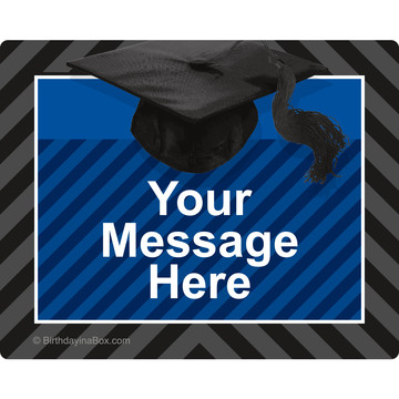 Blue Caps Off Graduation Personalized Rectangular Stickers (Sheet of 15)