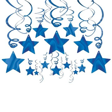 Blue Foil Star Hanging Decorations