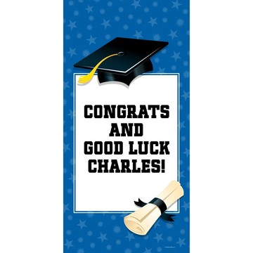 "Blue Graduation Personalized Giant Banner 30x60"" (Each)"