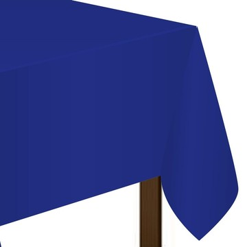"Blue Plastic Tablecover, 54""-108"""