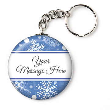 "Blue Snowflake Personalized 2.25"" Key Chain (Each)"