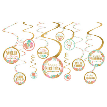 Boho Birthday Girl Foil Swirl Decoration (12)