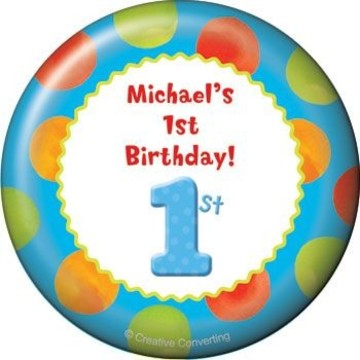 Boys' Polka Dot 1st Birthday Personalized Magnet (each)