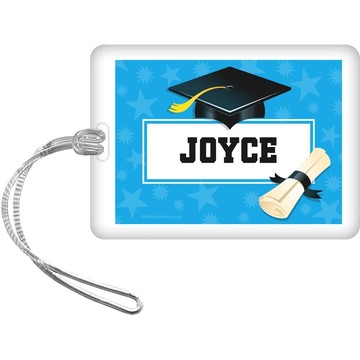 Bright Blue Grad Personalized Bag Tag (Each)