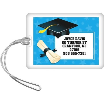 Bright Blue Grad Personalized Luggage Tag (Each)