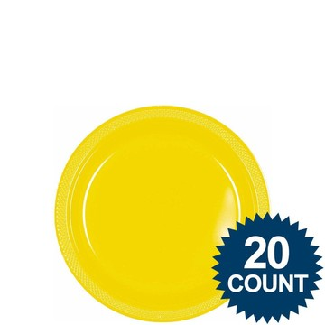"Bright Yellow 7"" Plastic Cake Plates (20 Pack)"