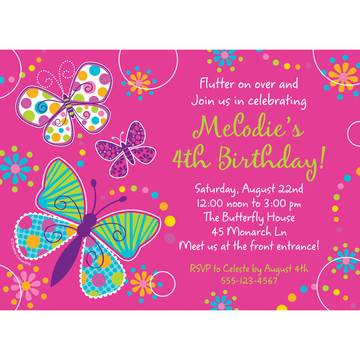 Butterfly Sparkle Personalized Invitation (Each)
