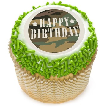 "Camouflage 2"" Edible Cupcake Topper (12 Images)"