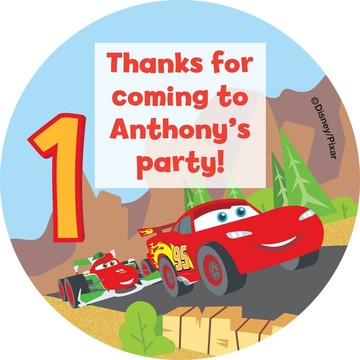 Cars 1st Birthday Personalized Stickers (Sheet of 12)