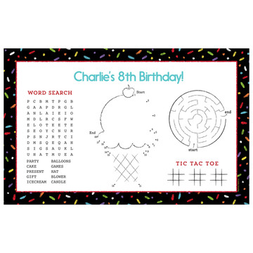 Chalk Birthday Personalized Activity Mat (Each)