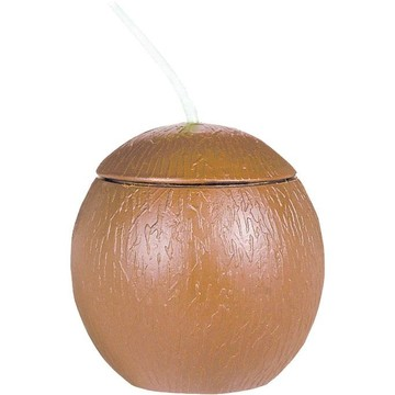 Coconut Shaped Cup W/ Straw 18oz (Each)