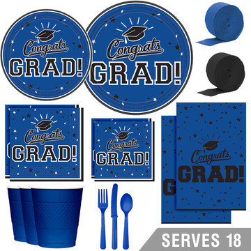 Congrats Grad Blue Deluxe Tableware Kit (Serves 18)