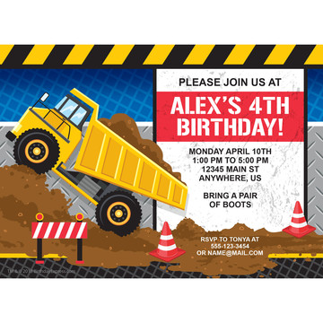Construction Party Personalized Invitation (Each)