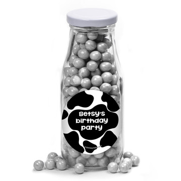 Cow Personalized Glass Milk Bottles (10 Count)