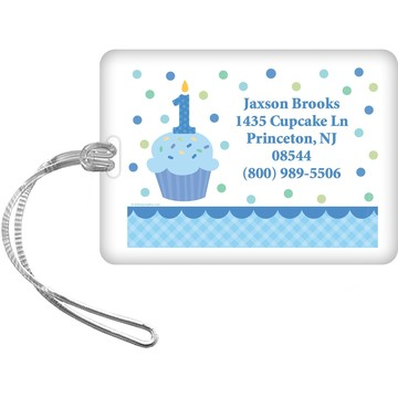 Cupcake 1st Birthday Boy Personalized Luggage Tag (each)