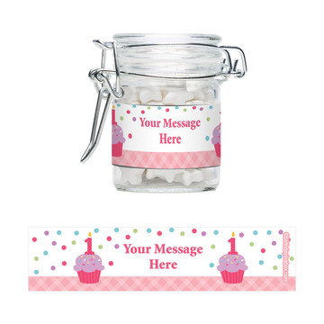 Cupcake 1St Birthday Girl Personalized Glass Apothecary Jars (10 Count)