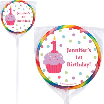 Cupcake 1st Birthday Girl Personalized Lollipop (PACK OF 12)