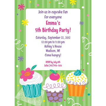 Cupcake Party Personalized Invitation (each)