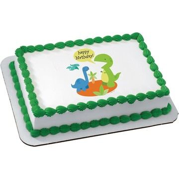 Dino Birthday Quarter Sheet Edible Cake Topper (Each)