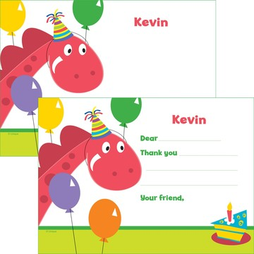 Dinosaur Birthday Personalized Thank You Note