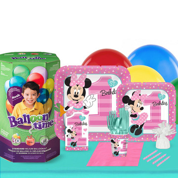 Disney Minnie Mouse 1st Birthday 16 Guest Party Pack and Helium Kit