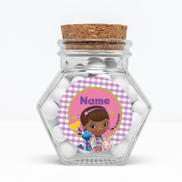 "Doc McStuffins Personalized 3"" Glass Hexagon Jars (Set of 12)"