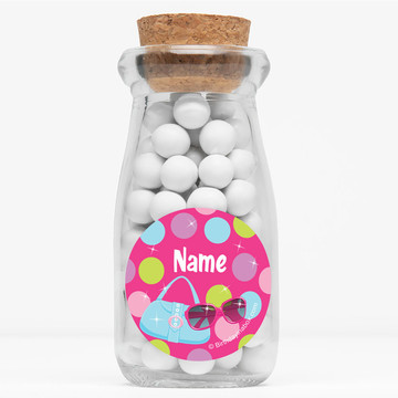 """Doll Party Personalized 4"""" Glass Milk Jars (Set of 12)"""