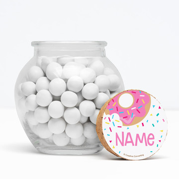 "Donut Personalized 3"" Glass Sphere Jars (Set of 12)"