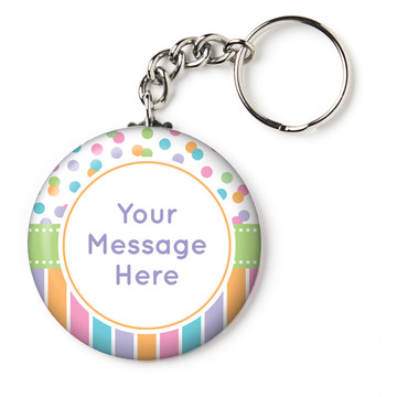 "Dots and Stripes Baby Shower Personalized 2.25"" Key Chain (Each)"